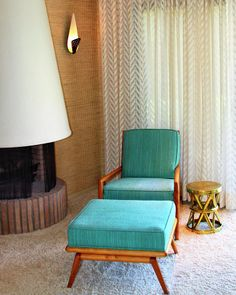 Sinatra's House, Palm Springs - a Fine Art Print - Photograh by William Dey .... My father had a chair and footstool just like this, but the cushions on his chair and stool were covered in a copper coloured fabric.