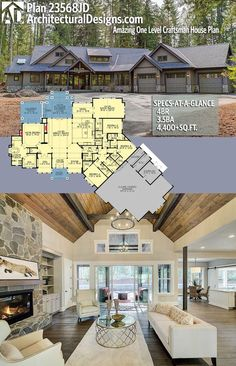 Architectural Designs House Plan 23568JD gives you 4 beds, 3.5 baths and over 4,400 square feet of heated living space.