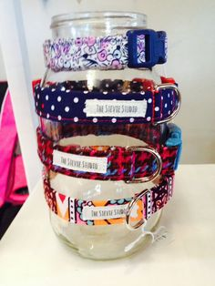 Mason jar as a dog collar display at The Mitten Building in Downtown Redlands.