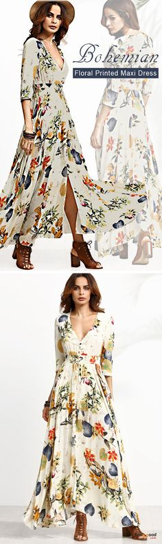 US$23.99 + Free shipping. Size: M~5XL. Fall in love with casual and bohemian style! Gracila Bohemian Women Floral Print V-neck Split Maxi Dress.