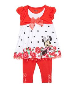Another great find on #zulily! Red Minnie Mouse Bow Tee & leggings - Infant, Toddler & Girls by Children's Apparel Network #zulilyfinds