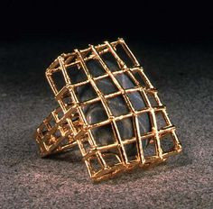 Charles Lewton Brain, Cage Ring, welded stainless steel wire, electroformed copper, electroformed 24k gold.