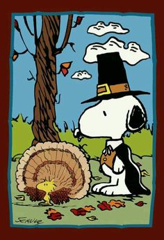 Snoopy as a Pilgrim and Woodstock as a turkey!! Happy Thanksgiving!!