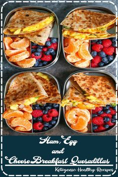 Ham, Egg and Cheese Breakfast Quesadillas - Meal prep ahead of time so you can have breakfast done right every morning! Less than 300 calories per serving! Healthy Crockpot Recipes, Slow Cooker Recipes, Healthy Dinner Recipes, Vegan Recipes, Dessert Recipes, Cooking Recipes, Healthy Meals, Mini Desserts, Easy Recipes