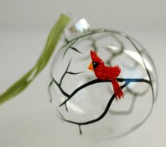 Christmas Cardinal Glass Personalized Ornament - Large Hand Painted Christmas Ornament - Red Bird in the Snow