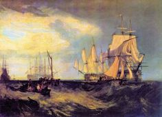 Joseph Mallord William Turner - Spithead, Two Captured Danish Ships Entering Portsmouth Harbour 1807 Portsmouth Harbour, Joseph Mallord William Turner, Tate Britain, Watercolor Landscape Paintings, Nautical Art, Sailing Ships, Art History, Artwork, Danish