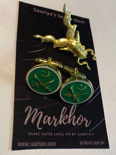 Original ✅ Saariya's ✅ Markhor 3d Metal Badges | Emblems | Cufflinks 📲 Whatsapp 03338345558 | Markhor Matt Golden Lapel pin | 1900 Watan Salamat Green Cufflinks | 2100 #Lapelpins #Souvenirs #Badges #Accessories #Tieclips #Markhor #Haider #ISI #PakistanArmy #Saariyas #PakArmy #MenAccessories #Cufflinks #Gifts #MenGifts #Scarfs #Pens #Lapelpin #Pakistan #Sherdils #PAF #PakistanNavy #Army #Airforce #Navy Lapel Pins, Pakistan, Badges