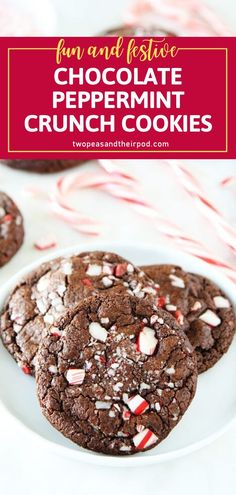 This recipe will let you get into the holiday spirit! Share these festive Chocolate Peppermint Crunch Cookies with your family and friends. Loaded with chocolate chips, peppermint crunch pieces, and candy cane pieces, this dessert is perfect for Christmas in July! Crunchy Cookies Recipe, Best Homemade Cookie Recipe, Soft Cookie Recipe, Homemade Cookies, Cookie Desserts, Sweet Desserts, Cookie Recipes, Pie Recipes, Cookies