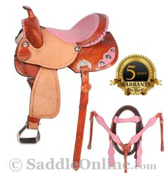 Beautiful premium quality saddle from Flash Saddlery. Gorgeous light pink with ostrich print inlay line this saddle, with black and silver stared conchos and floral carving and basket weave tooling make this saddle stand out. This saddle isn't all about looks either, a close contact skirt and free swinging stirrups allow the rider more freedom for a better performance. The saddle is made from premium leather with a well balanced wood and fiberglass blend tree to keep the saddle lightweight.