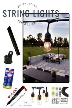 DIY Backyard String Lights - Taryn Whiteaker Outdoor Spaces, Outdoor Living, Outdoor Decor, Outdoor Ideas, Backyard String Lights, Concrete Posts, Twinkle Lights, Summer Porch, Types Of Craft
