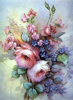 New tattoo rose vintage flowers art prints ideas Decoupage Vintage, Decoupage Paper, Vintage Art, Vintage Decor, Art Floral, Illustration Blume, China Painting, Rose Art, Vintage Flowers