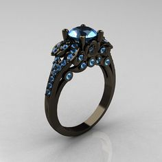 Classic Black Gold CT Blue Topaz Blazer Wedding Ring from NaturesNouveau on Etsy. Saved to Classic Bridal Jewelry. Black Wedding Rings, Black Rings, White Gold Rings, Pretty Rings, Beautiful Rings, Jewelry Rings, Fine Jewelry, Unique Jewelry, Jewelry Ideas