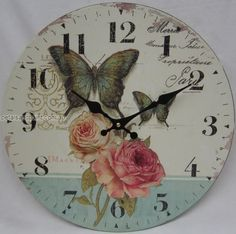 Kitchen Canisters Butterfly | 34cm Rustic French Provincial Country Butterfly Roses Wall Clock Large ...