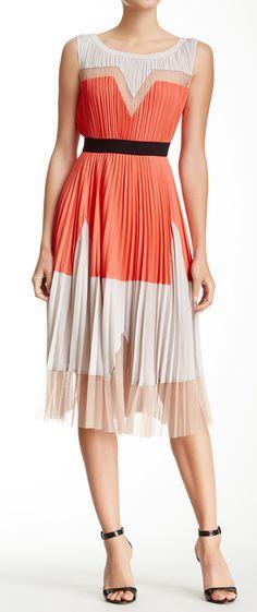 Coral + Cream Pleated Dress