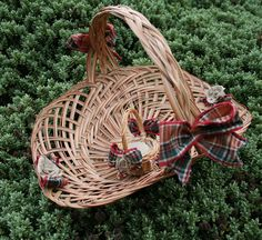 Traditional Wicker Flower Basket and Ring by RatherNiceCrafts
