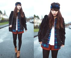 Flannel and velvet (by Ivy Xu) http://lookbook.nu/look/4289119-flannel-and-velvet