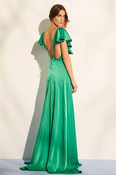 vestido largo verde de fiesta para boda evento coctel de nubbe en apparentia
