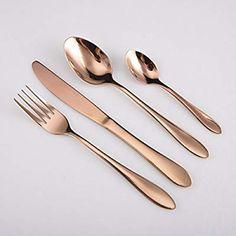 cfe8be346 HOMQUEN 24 Pieces Rose Gold Cutlery Set