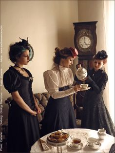 Love the hats at this Steampunk tea party!