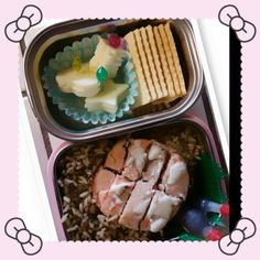 September 15 Galic quinoa and rice(Costco) and salmon patty(Trader Joe's) on the top with Teriyaki sauce on the side for Lunch Cheese ( shaped with cookie cutter) and crackers for Snack