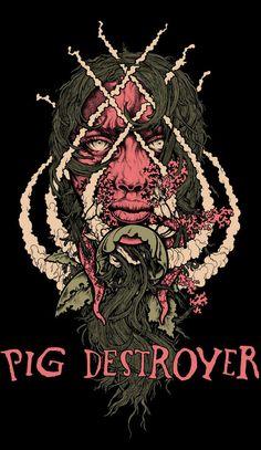 Pig Destroyer John Baizley Tour poster #4color