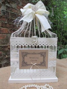 Brooch Bows Vintage Style Love Bird Birdcage Wedding Card Post Box