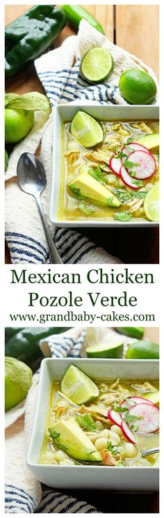 traditional Mexican Chicken Pozole Recipe is perfectly flavored and spiced made with comforting hominy, peppers, delicious chicken and so much love. Mexican Dishes, Mexican Food Recipes, Soup Recipes, Chicken Recipes, Cooking Recipes, Healthy Recipes, Chicken Pazole Recipe, Green Chicken Pozole Recipe, Hominy Recipes
