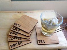 Wooden Laser Cut Beverage Coasters. $35.00, via Etsy.