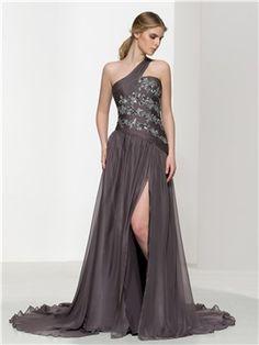 Ericdress One Shoulder Appliques Sequins Split-Front Evening Dress