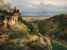 Karl Friedrich Lessing - Retreating Storm (landscape with smoking ruins of a fire) Carl Friedrich, Warhammer Fantasy, Sculpture, Landscape Paintings, Oil Paintings, Screen Shot, Art Photography, Around The Worlds, Fire