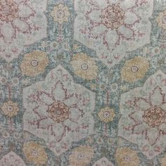Toscana Tile Cerulean Green Drapery Fabric by P. Kaufmann - SW52796 - ottoman era tent liner.  As is.