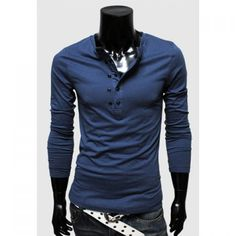 New Style Casual Double-Breasted Solid Color Long Sleeve Spring T-Shirt For Men