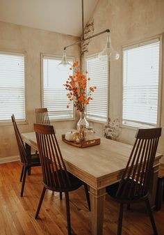 Autumn Home Tour Fall Home Decor, Autumn Home, Dining Room, Dining Table, Fall Color Palette, Design Movements, Handmade Home Decor, Transitional Style, Repeating Patterns