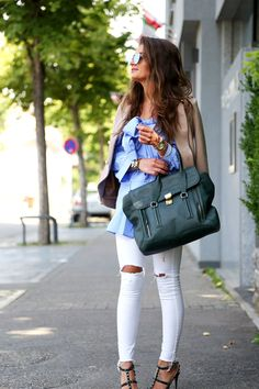 outfit: ripped jeans rockstud pumps and Pashli bag
