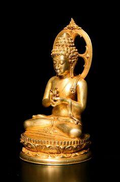 Balinese Gold Figure of Buddha Seated in Dharmacakra Mudra - DA.702 (LSO) Origin: Indonesia Circa: 800 AD to 1300 AD