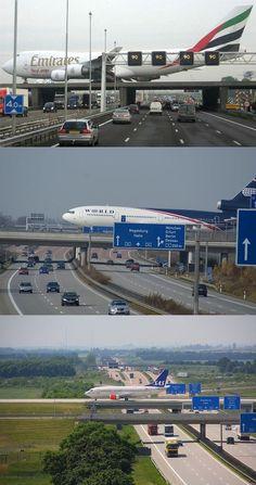 Aeropuerto Schkeuditz, Atraviesa una autopista de coches