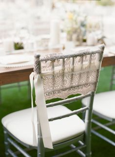 Chair decorated with LACE - Scottsdale Wedding from Melissa Schollaert + Victoria Canada Weddings & Events