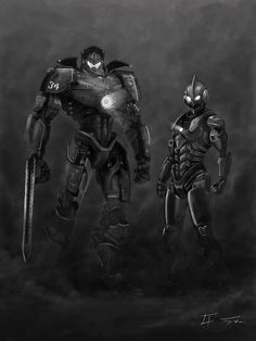 Gipsy Danger and Ultraman by eatalllot