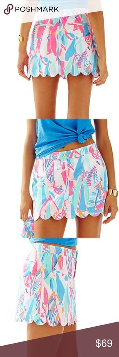 NWT Lilly Pulitzer Collette Skort Out To Sea. SZ 4 NWT Colorful and fun Lilly Pulitzer Skort. SZ 4. Perfect for Spring and Summer. Scalop hem and build -in short. 100% cotton. Inseam: 3 inches. Runs true to size. Lilly Pulitzer Skirts Mini
