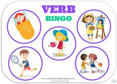 verbs, czasowniki, actions, czynności, bingo,słownictwo, games, game, gry, sentences, speaking, grammar
