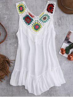 Crochet Yoke Cover-Up Tank Dress - White