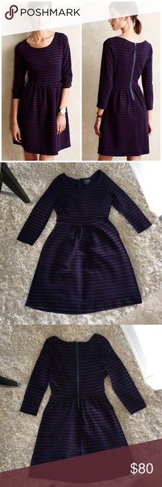Maeve 'Brenna' Dress Euc. Two front pockets. Back zip. Fit and flare textured dress with 3/4 sleeves. Navy and burgundy stripe. Anthropologie Dresses