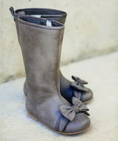 Look at this #zulilyfind! Gray Bow Maci Boots - Kids by Joyfolie #zulilyfinds