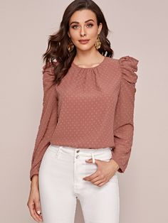 Check out this Swiss Dot Puff Sleeve Blouse on Shein and explore more to meet your fashion needs! Dress Neck Designs, Saree Blouse Designs, Dressy Tops, Girls Fashion Clothes, Fashion Outfits, Elegant Office Wear, Simple Kurta Designs, Indian Bridal Fashion, Indian Designer Outfits