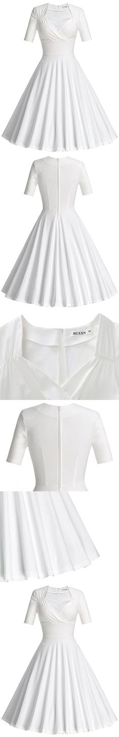 MUXXN Women's Sweetheart Neckline High Waist Rockabilly Cocktail Dress (White M)