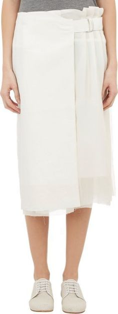 Pas de Calais Pleat Linen & Organza Skirt-White