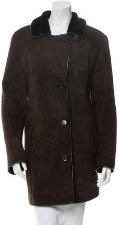 Brown and black Birger Christensen shearling coat with tonal stitching throughout, dual pockets and button closures at center front. Size not listed, estimated from measurements. Shearling Coat, Mantel, Raincoat, Leather Jacket, Stylish, Jackets, Fur, Clothes, Black