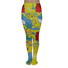 Yellow abstract art Are black, blue and beige tights getting a bit too boring for you? Create your own pair with rainbow colors, crazy patterns and a mix of photos and art! Have fun with your designs and wear them with pride because they will truly be one of a kind!    Made from 90% Rayon, 10% Spandex Soft, stretchy, lightweight and quick drying fabric Full Length Standard Fit Fully customizable Hand wash in cold water only Designs imprinted using an advance heat sublimation technique…
