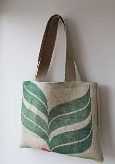 Recycled,repurposed hessian/burlap coffee sack lined tote bag with mini purse. Sustainable, eco-friendly and unique