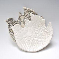 2 Bird Dessert Plates Black and White ceramic lace handmade hand built pottery